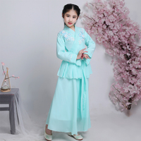 Chinese Kids Guzheng Perform Costumes Fairy Princess Hanfu Girls Tang Dynasty Ancient Dance Costumes Traditional National Dress