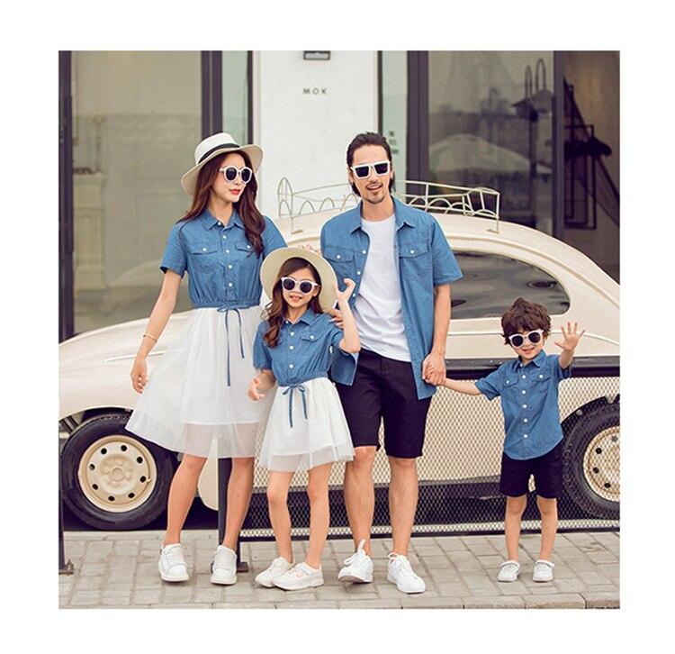 Été famille Look manches courtes maille couture mère et fille robes bébé filles Jean robe père et fils Denim Blouse