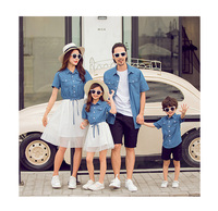 Summer Family Look Short Sleeve Mesh Stitching Mother And Daughter Dresses Baby Girls Jean Dress Father And Son Denim Blouse