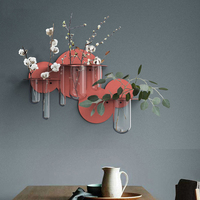 Creative Wall Vase Metal Transparent Glass Tube Flowers Hydroponics Plant Flowers Chlorophytum Holder Bonsai Vases Decoration