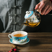 Set of Ceramic Tea Cup Glass Teapot for High Tea Porcelain Saucer with Tea Infuser Afternoon Tea Set Best Wedding Gift