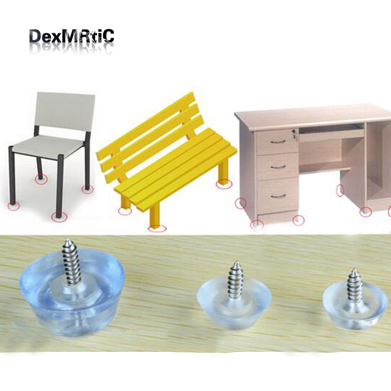 Thickened Table Foot Protector with 16mm Screw Round Bottom Chair Leg/Foot Protective Pad Furniture Base Cap Cover 12*28mm/6.6*1