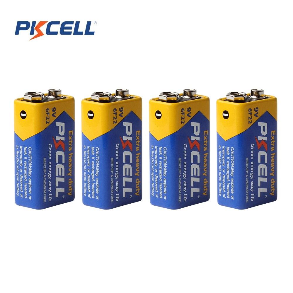 PKCELL 4pcs battery parts 9v batteries 6F22 Single-sex dry 9v battery zinc carbon battery все цены