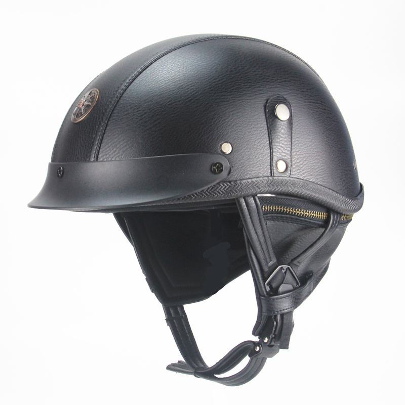 PU Leather Motorcycle Helmet vintage Half Face for Chopper Motorcycle Motocross Open Face Cruiser Chopper Scooter