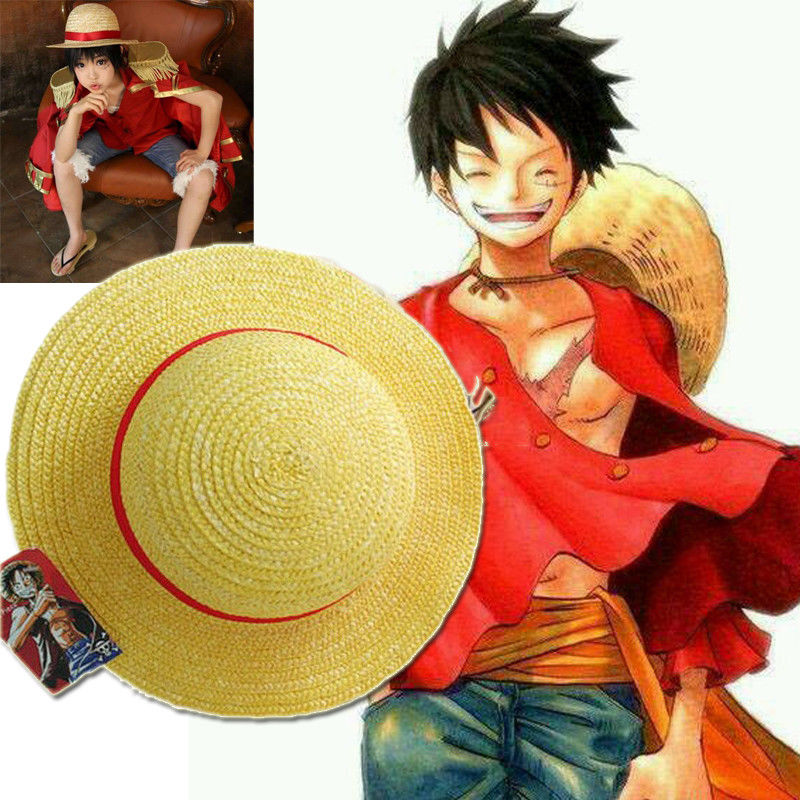 Anime <font><b>One</b></font> <font><b>Piece</b></font> <font><b>Luffy</b></font> Anime Cosplay Straw Boater Beach Hat Cap Halloween straw hat Cosplay Accessory image