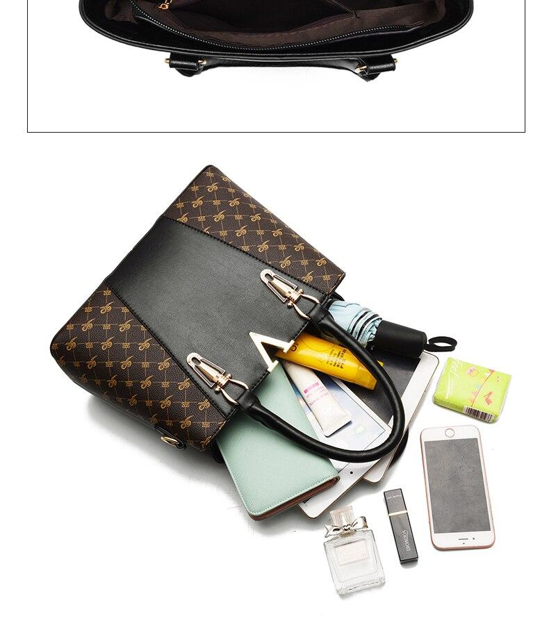 2 Pcs Leather Handbag Women Tote Bag Ladies Shoulder Bag