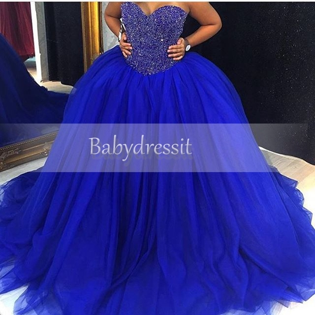 New Arrival Sweetheart Royal Blue Prom Dresses 2017 Puffy Ball Gown ...