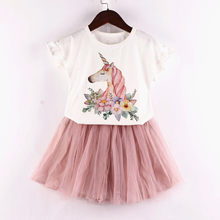 New Summer Princess Dress infant Fashion Unicorn Dress for Girls Birthday party dress Kids Dresses Baby Girls Costume(China)