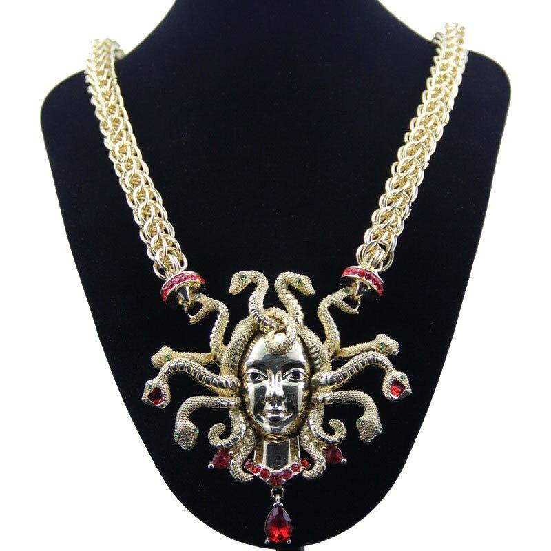 YD&YDBZ Punk Hyperbole Long Necklaces Big Pendant Necklace Medusa Nine Snakes Choker Necklaces Nightclube Rave Hiphop Jewellery