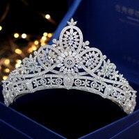 SLBRIDAL свадьбы кубического циркония Тиара Свадебный CZ Корона queen Пышное Платье принцессы вечерние заставки подружки невесты аксессуары для в