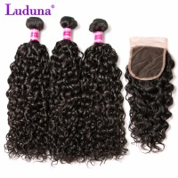 Luduna Brazilian Water Wave Human Hair Bundles With Lace Closure Free Part Natural Color 3 Bundles Hair Weaves Remy Hair