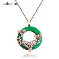 LUOTEEMI Modo di Colore Verde Elegante Vivid Danza Farfalla Ciondolo Collana Lunga Catena Per Le Donne Gioielli