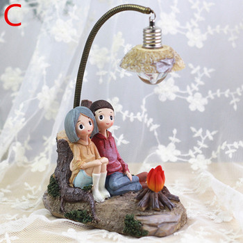 Vintage Διακοσμητικό Φωτάκι Νυκτός led Ρομαντικό Ζευγάρι Μικρό Φωτιζόμενο Διακοσμητικό με Ερωτευμένες Φιγούρες