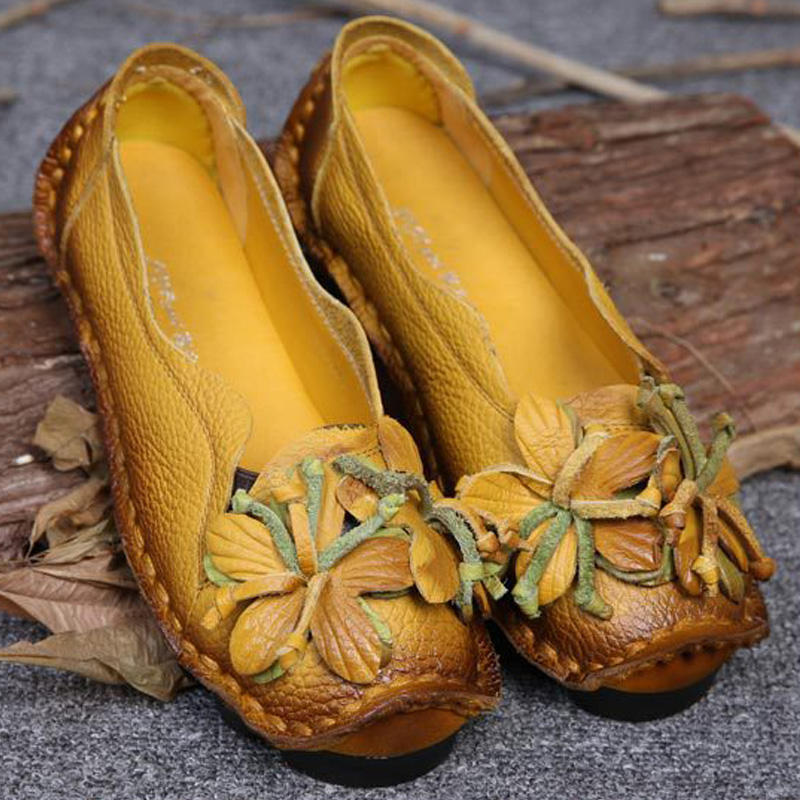 New Autumn Flowers Handmade Shoes Women's Floral Soft Flat Bottom Casual Shoes Folk Style  Moccasins Women Genuine Leather Shoes