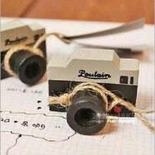 Творческий ретро мини-уплотнение прекрасное художественное оформление сырая древесина фотоаппарат штамп перстень