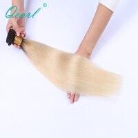 Qearl Hair 1B Dark Root 613 Blonde Brazilian Hair Bundles Straight Non Remy 1PCS Ombre Hair