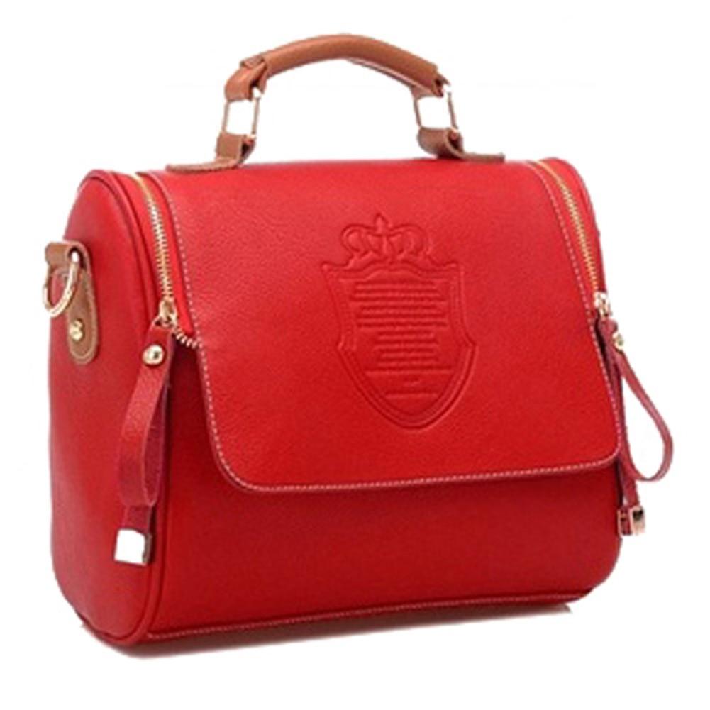 FGGS Fashion Women Handbag Synthetic Leather Vintage Stamping Shield font b Camera b font Satchel Shouder