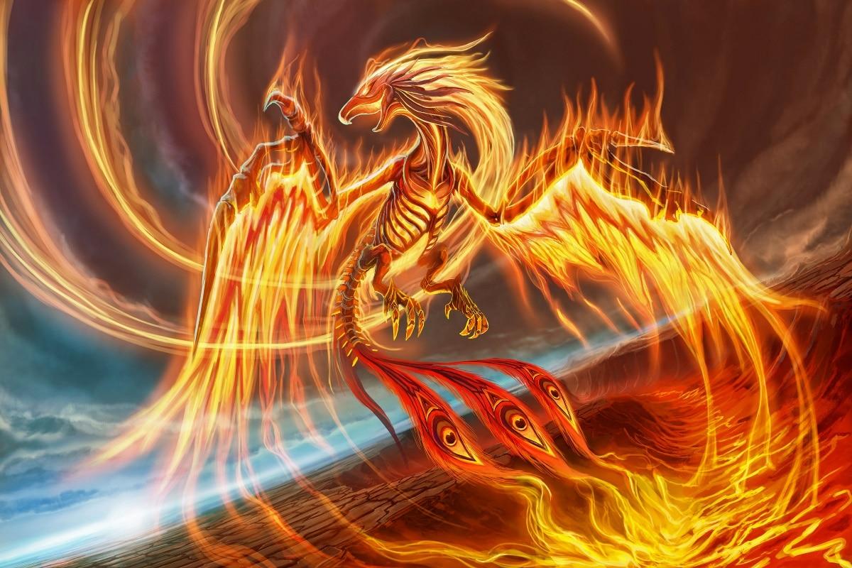 Fire Phoenix Fantasy Bird Beak Tail Wings Flight Ea142