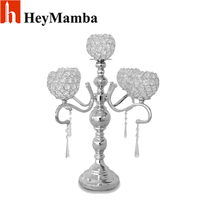 5 Head Metal Candlestick Gold Silver Plated Crystal Table Candelabras For Wedding Candle Holder Centerpieces Candelabra
