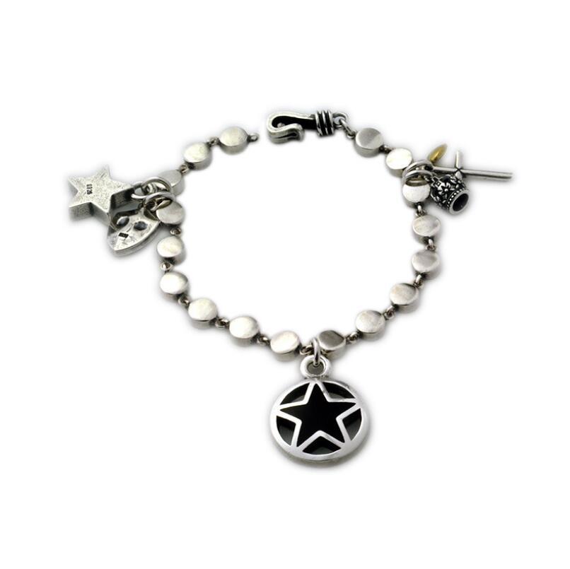 S925 Silver vintage cross star pendant link chain bracelet (YRT)S925 Silver vintage cross star pendant link chain bracelet (YRT)
