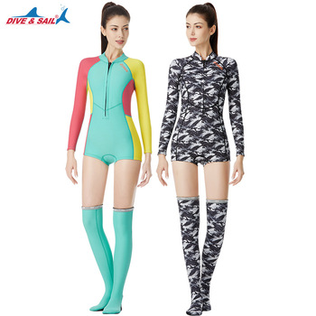 DIVE&SAIL New 1.5MM Bikini Wetsuit UV Protection Long Sleeve Diving Suit Swimming Suit Surfing Snorkeling Stockings Women
