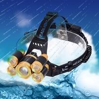 HNGCHOIGE 1 Set 10000LM Zoomable 5 LED Rechargeable 18650 Headlamp Head Light Torch EU/US Plug