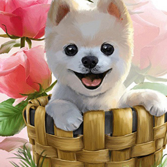 diy diamond paintings cute dogs rose flowers cross stitch wall art