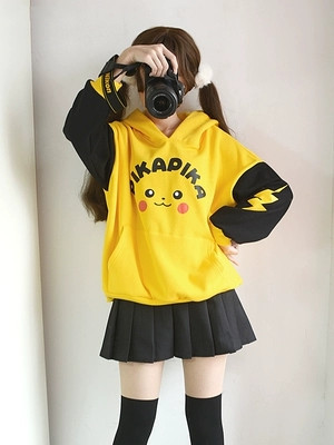 Pikachu Hoodie Anime Pokemon Cosplay Costume Hoodie Jacket Sweatshirt Halloween Pikachu Cosplay Costume