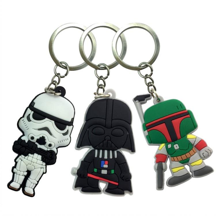 20PCS Star Wars Cartoon Figure Key Chain PVC Anime Key Ring Kid Mini Toy Pendant Keychain Children Key Holder Fashion Jewelry