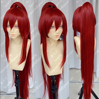 39'' 100cm Long Wine Red Erza Scarlet Heat Resistant Ponytail Hair Anime Fairy Tail Cosplay Costume Wig + Free Wig Cap