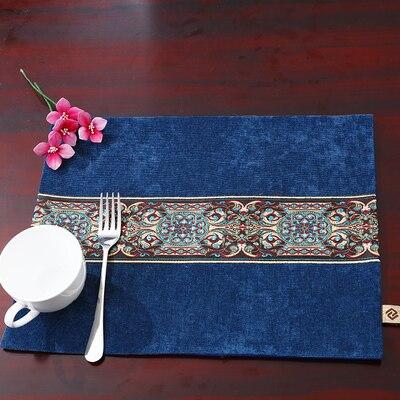 Лоскутный с вышивкой кружевное китайские столовые приборы стол колодки Статуэтка винтажный Европейский стиль бархатная ткань Настольный коврик - Цвет: Темно-синий