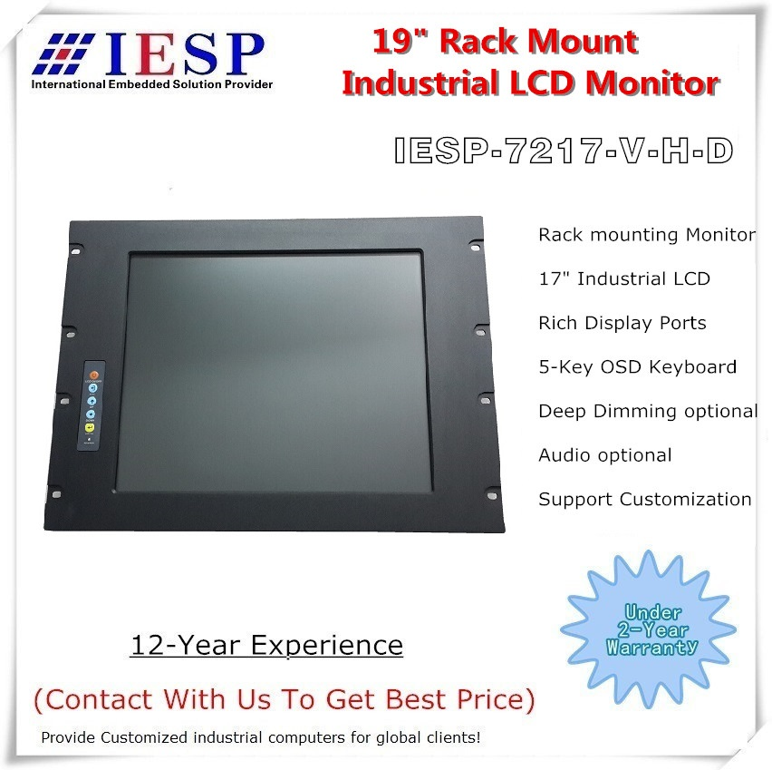 8U Rack Mount  LCD Monitor, 17inch industrial LCD monitor, Provide custom desing service