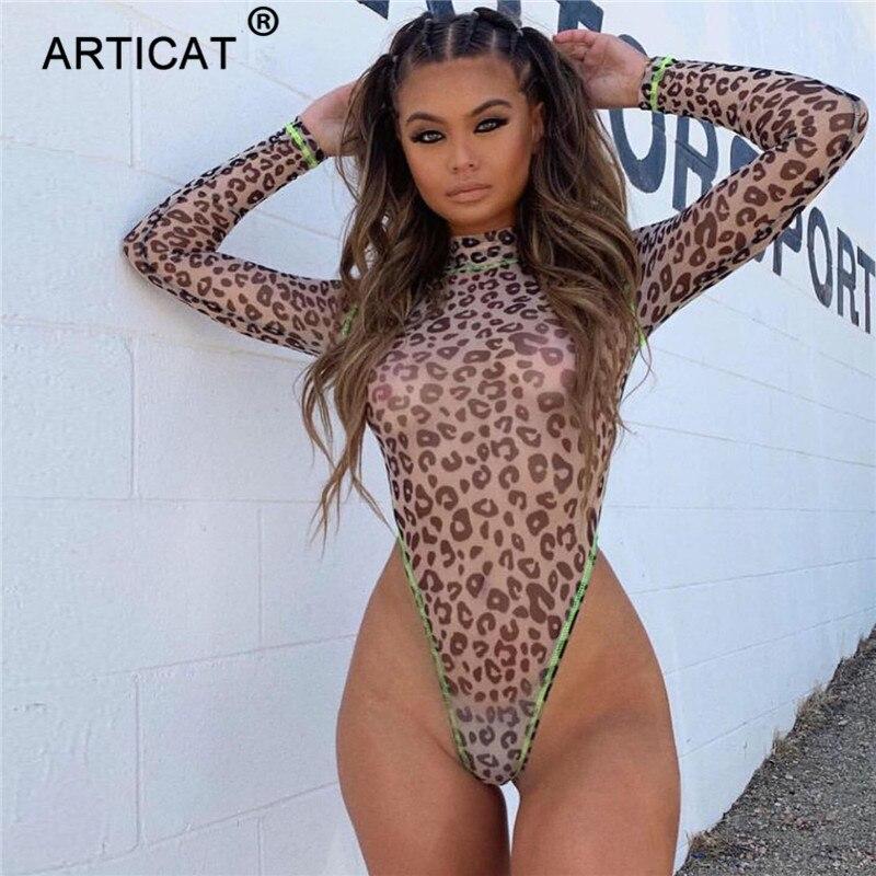 Articat Transparent Mesh Leopard Bodysuit For Women Sexy Bodycon Skinny Rompers Womens Jumpsuit Turtleneck Long Sleeve Playsuits