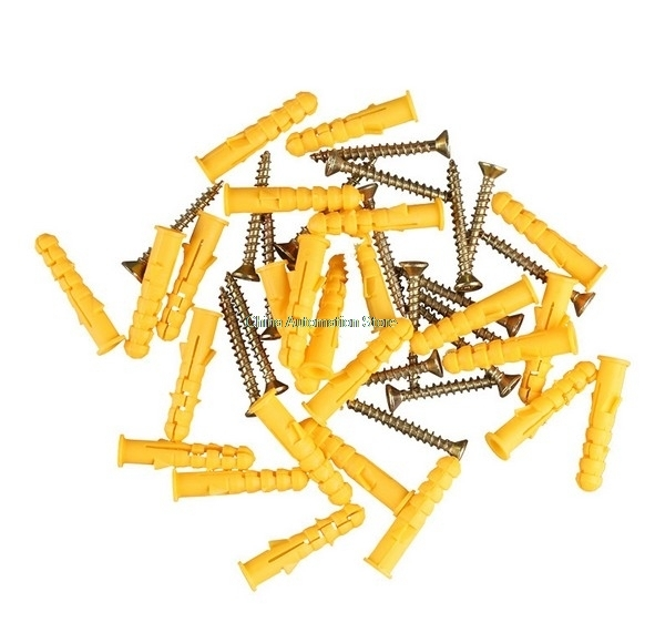 10pcs <font><b>M10</b></font>*50mm Small Yellow Plastic Expansion Plug Pipe Anchor Wall Plug <font><b>Screw</b></font> <font><b>Nylon</b></font> Expansion Tube image