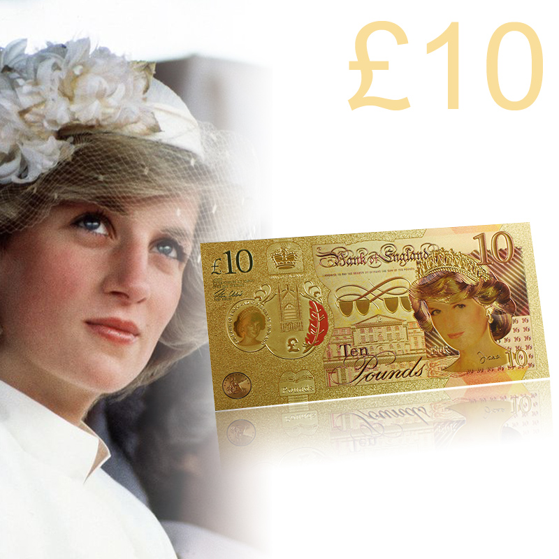 2019 WR Princess Of Wales Golden Banknote Quality 999 24k Gold Foil Banknote Diana Princess Ten Pounds Gold Banknote