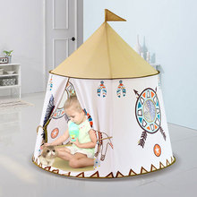 Foldable Children's Tent For Kids Baby Play House Wigwam Princess Castle Teepee Kids Present Hang Flag Tent Children's Room Toy yard space theme toy tent kids game house baby play tent child gifts castle children teepee kid tent