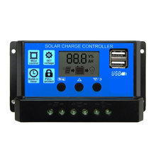 60A/50A/40A/30A/20A/10A 12V 24V Auto Solar Charge Controller PWM With LCD Dual USB 5V Output Solar Cell Panel Regulator PV Home(China)