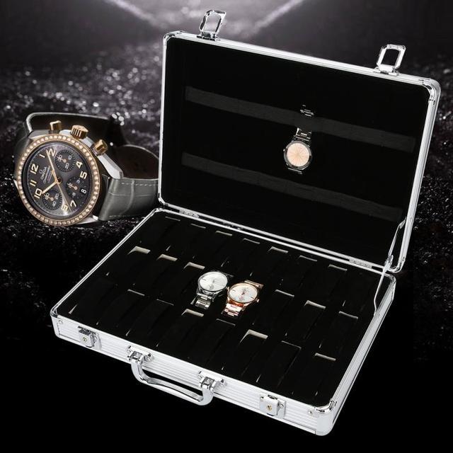 24 Grids Aluminum Alloy Suitcase Watch Case Display Storage Box Watch Organizer