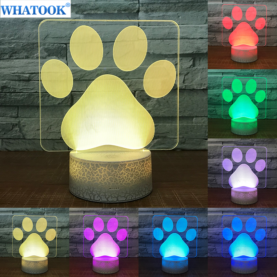 Dog Paw Modelling 3D Table Lamp LED Colorful Lovely Nightlight Bedroom Decor Footprints USB Sleep Light Kids Brithday Xmas Gifts 3d fire engine modelling table lamp 7 colors changing fire truck car night light usb sleep light fixture bedroom decor kids gift