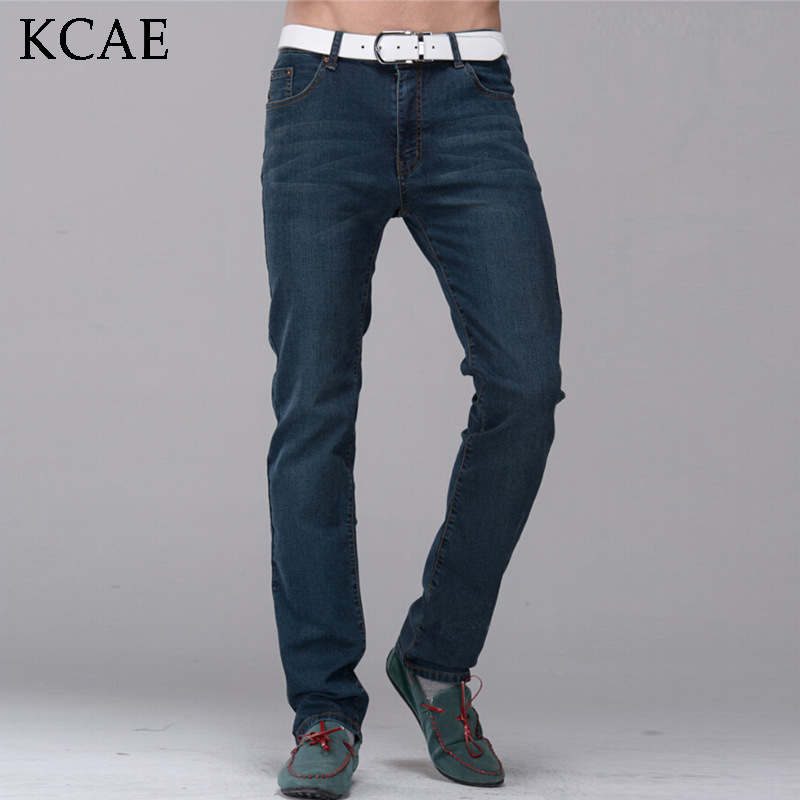 2017 New Fashion Men Jeans Slim straight Washing male casual Elasticity men's Mid Waist denim Long trousers Size 27-36