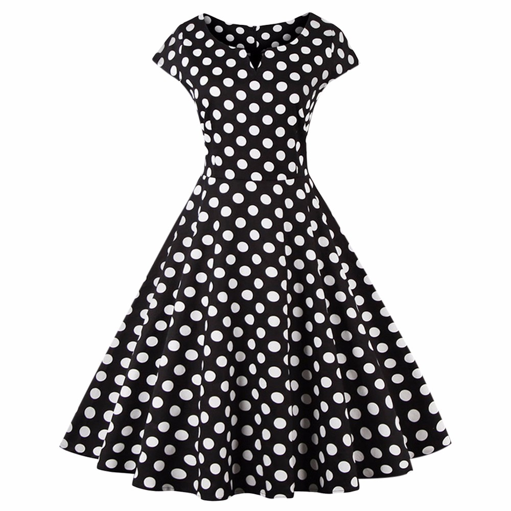 eff2a898d48e2 Online Shop Kenancy Plus Size 4XL Women Retro Dress 50s 60s Vintage  Rockabilly Swing feminino vestidos V Neck Dot Polka Women Party Dress