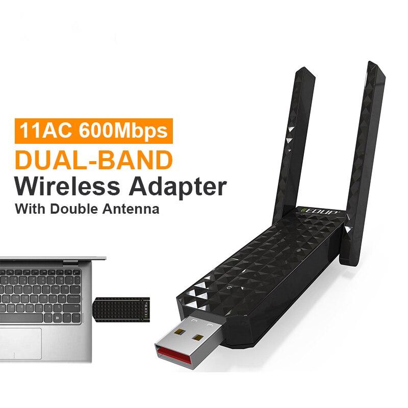 EDUP 600Mbps Wireless USB WiFi Adapter 802.11ac 5Ghz Wi-Fi Dongle Dual Band 2*2dBi Antenna Wi Fi Receiver USB Network Card