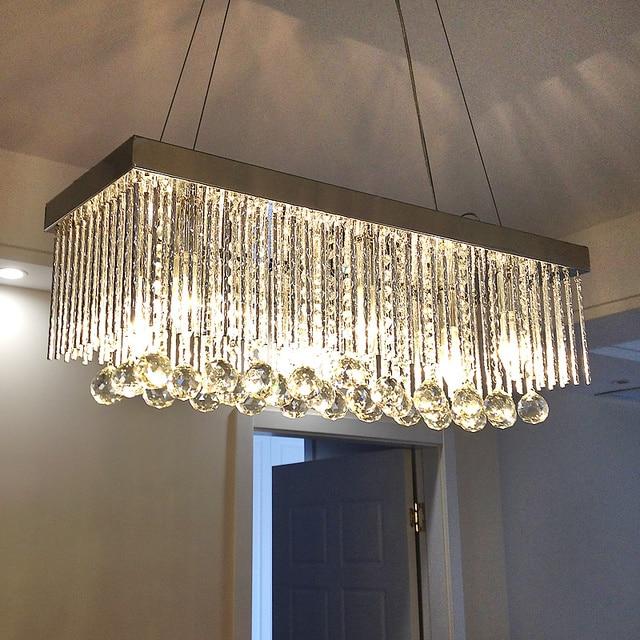 Rechthoekige crystal led hanglamp led woonkamer eetkamer for Led hanglampen woonkamer