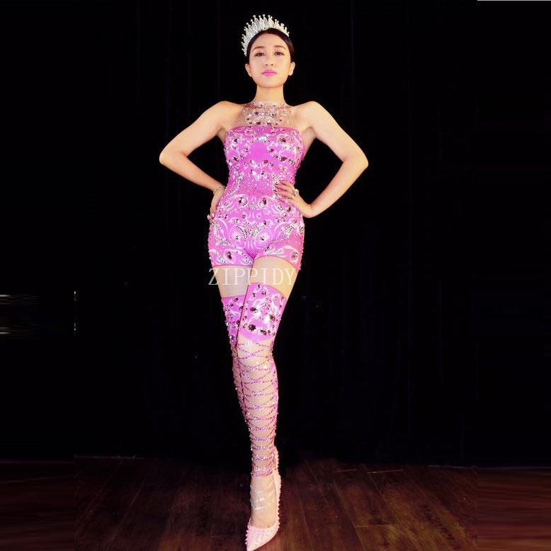 Sexy Sparkly Rhinestones Pink Jumpsuit Birthday Celebrate Outfit Costume Female Singer Bling Bodysuit Performance Dance Wear