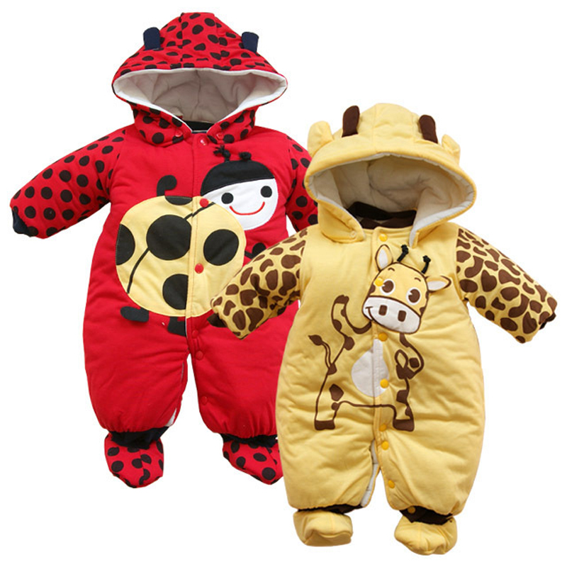 Cartoon Winter Overalls For Boy Girls Rompers Kids Long Sleeve Baby Ladybug Cows Warm Jumpsuit Autumn And Winter Toddler Clothes цена