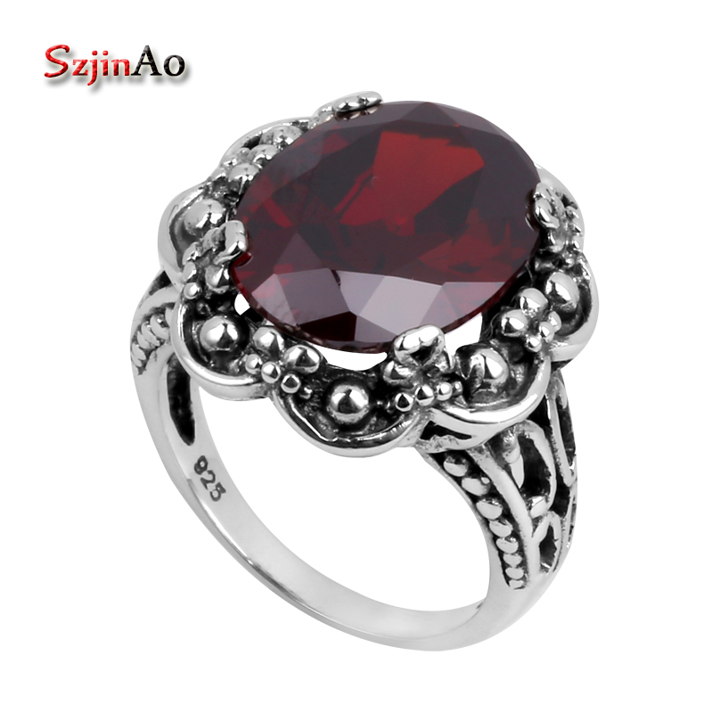 Szjinao Wholesale Jewelry Garnet High-quality Victoria Fashion 925 Sterling Silver Ring Wedding Rings for Women