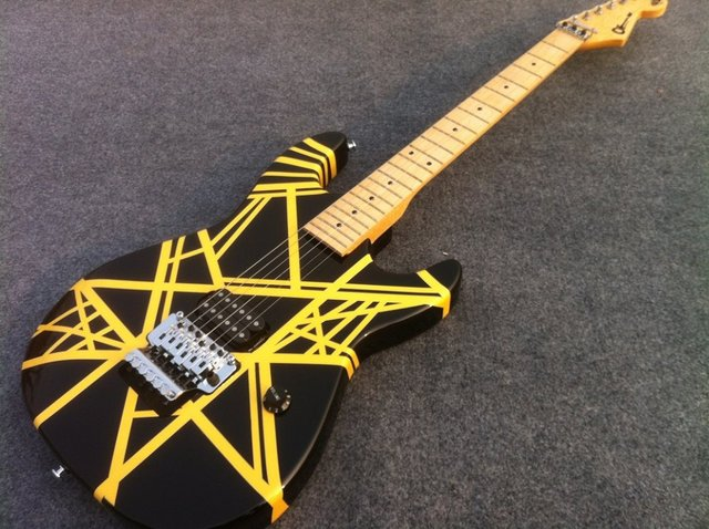 Charvel Guitar EVH electric guitar with black and yellow strip