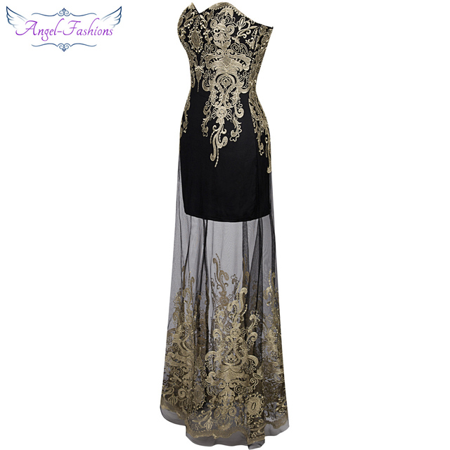Angel-fashions Vintage 1920'S Strapless Embroidery See Through Lace up Long Evening Dress vestidos de noche Black 189