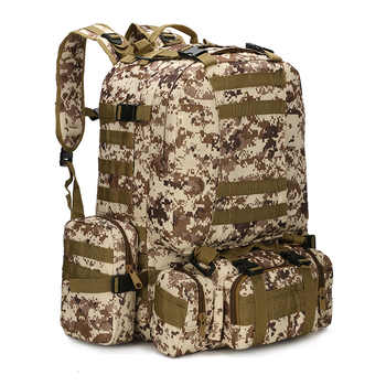 60L Combination Multifunctional Military Tactical Backpack Oxford Cloth Military Camouflage Hiking Pack Large Climbing Backpack