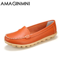 Brand New 2017 Women Genuine Leather Shoes Slip On Women Flats Comfort Shoes Woman Moccasins Spring